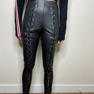 Topshop faux leather lace up leggings